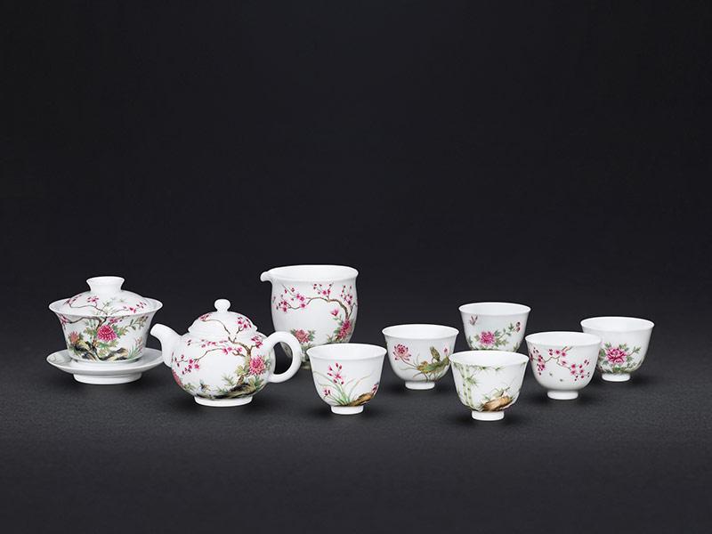 琺瑯彩梅蘭竹菊茶具