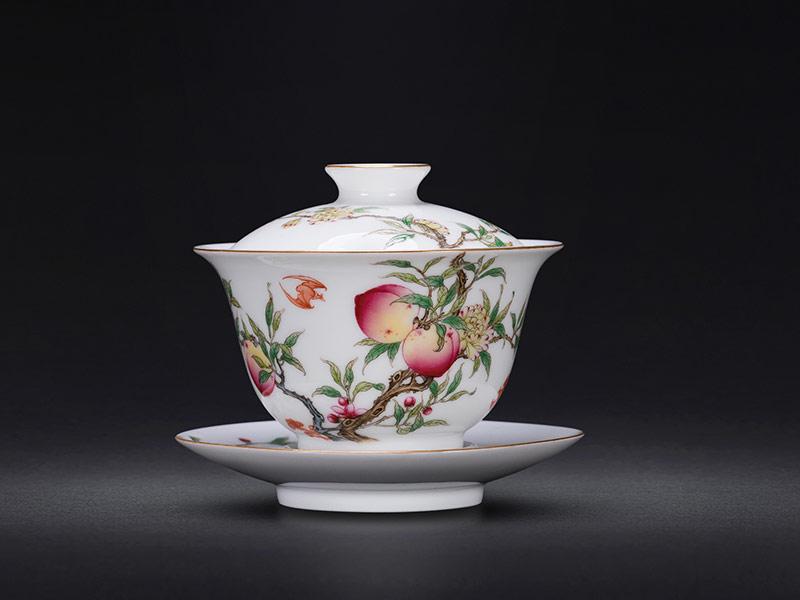 琺瑯彩手繪福壽雙全泡茶杯
